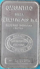 1-Ounce (oz) Johnson Matthey Silver Bar, Italy, Obverse