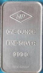 1-Ounce (oz) Johnson Matthey Silver Bar, Italy, Reverse
