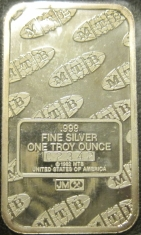 1-Ounce (oz) Johnson Matthey Silver Bar, MTB, Reverse