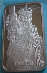 1-Ounce (oz) Johnson Matthey Silver Bar, Republic Bank, Obverse
