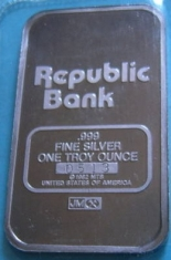 1-Ounce (oz) Johnson Matthey Silver Bar, Republic Bank, Reverse