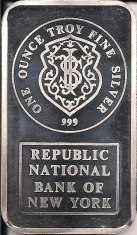 1-Ounce (oz) Johnson Matthey Silver Bar, Republic National Bank, Obverse