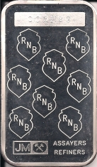 1-Ounce (oz) Johnson Matthey Silver Bar, Republic National Bank, Reverse