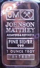1-Ounce (oz) Johnson Matthey Silver Bar, TD Bank, Obverse