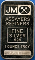 1-Ounce (oz) Johnson Matthey Silver Bar, Variety A, Obverse