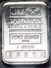 1-Gram (g) Johnson Matthey Silver Bar, Variety B, Obverse