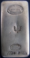 20-Ounce (oz) Johnson Matthey Silver Bar, Poured, No Serial Number, Obverse