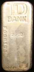 20-Ounce (oz) Johnson Matthey Silver Bar, Poured, TD Bank, Obverse