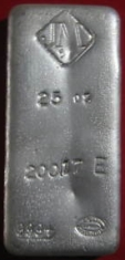 25-Ounce (oz) Johnson Matthey Silver Bar, Poured, Obverse