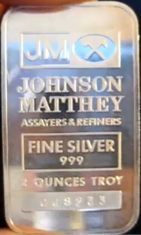 2-Ounce (oz) Johnson Matthey Silver Bar, Variety B, Obverse