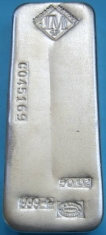 50-Ounce (oz) Johnson Matthey Silver Bar, Poured, Serial Number, Obverse
