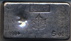 5-Ounce (oz) Johnson Matthey Silver Bar, Old Style, Obverse