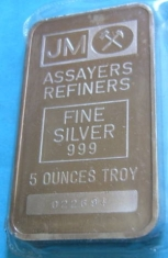 5-Ounce (oz) Johnson Matthey Silver Bar, Variety A, Obverse