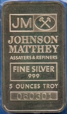 5-Ounce (oz) Johnson Matthey Silver Bar, Variety B, Obverse