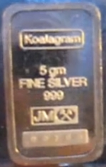 5-Gram (g) Johnson Matthey Silver Bar, Koalagram, Obverse