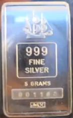5-Gram (g) Johnson Matthey Silver Bar, Shipwreck, Obverse