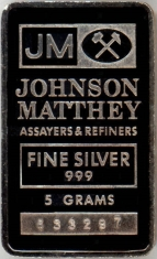 5-Gram (g) Johnson Matthey Silver Bar, Variety B, Obverse
