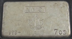 7-Ounce (oz) Johnson Matthey Silver Bar, Old Style, Obverse