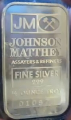 1/2-Ounce (half oz) Johnson Matthey Silver Bar, Variety B, Obverse