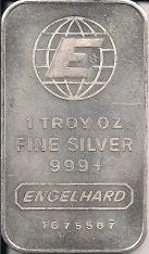 1 ounce (oz) Engelhard Siver Bar, Large E Logo, Obverse