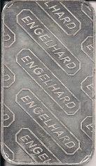 1 ounce (oz) Engelhard Siver Bar, Large E Logo, Reverse