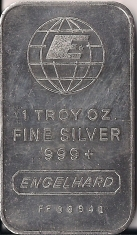 1 ounce (oz) Engelhard Siver Bar, Wide E Top, Obverse