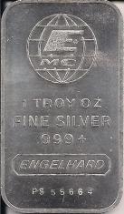 1 ounce (oz) Engelhard Siver Bar, EMC Logo, Obverse