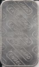 1 ounce (oz) Engelhard Siver Bar, EMC Logo, Reverse